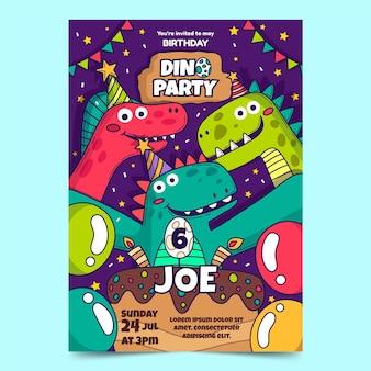 Invitación de cumpleaños de ilustración de dinosaurio dibujado a mano