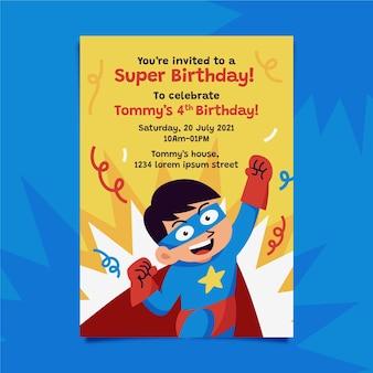 Invitación de cumpleaños de ilustración de superhéroe plana