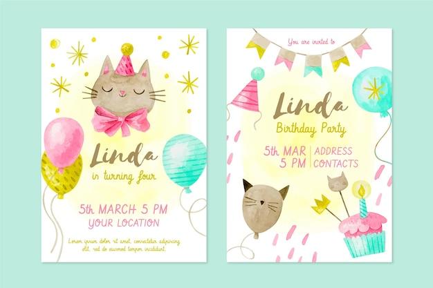 Invitación de cumpleaños infantil acuarela
