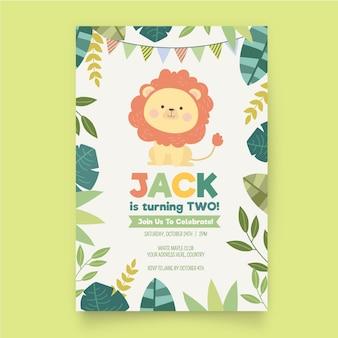 Invitación de cumpleaños infantil diseño plano orgánico