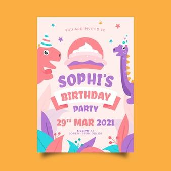 Invitación de cumpleaños infantil plana orgánica