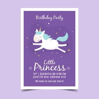 Invitación de cumpleaños infantil con unicornio