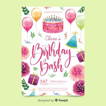 Invitación de cumpleaños con letras