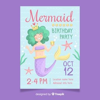 Invitación de cumpleaños lindo con sirena dibujada a mano