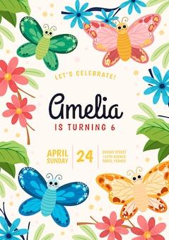 Invitación de cumpleaños de mariposa de dibujos animados