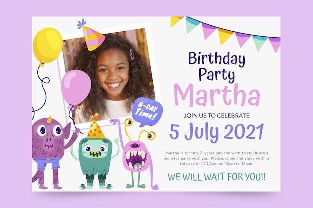 Invitación de cumpleaños de monstruo de dibujos animados con foto