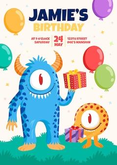 Invitación de cumpleaños de monstruos de dibujos animados