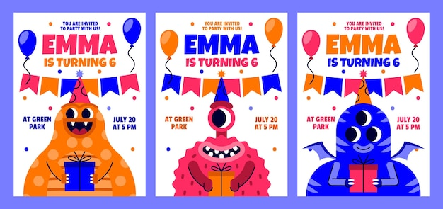 Invitación de cumpleaños de monstruos planos