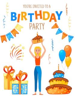 Invitación de cumpleaños con una niña y la inscripción