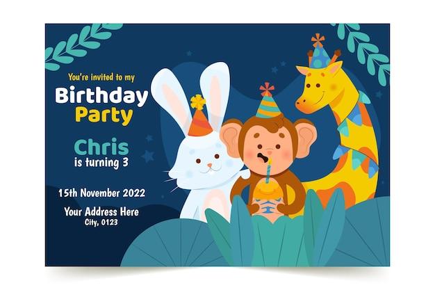 Invitación de cumpleaños de niños de diseño plano