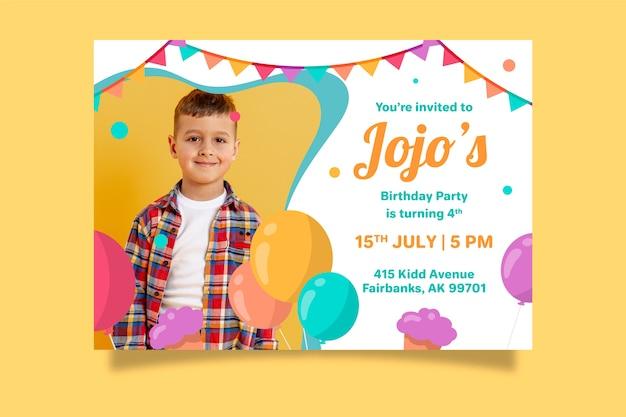 Invitación de cumpleaños para niños con foto