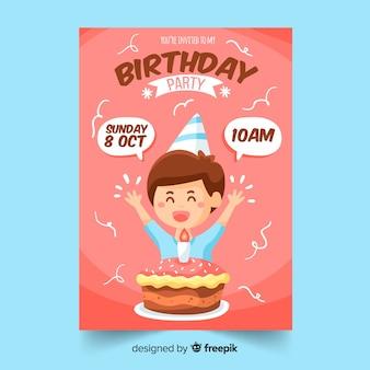 Invitación de cumpleaños para niños kawai