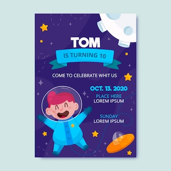 Invitación de cumpleaños para niños con plantilla de astronauta