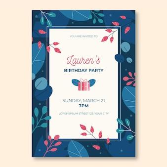 Invitación de cumpleaños plana orgánica