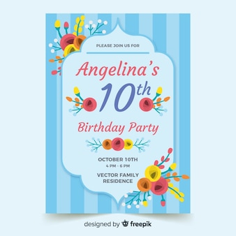 Invitación de cumpleaños de plantilla floral