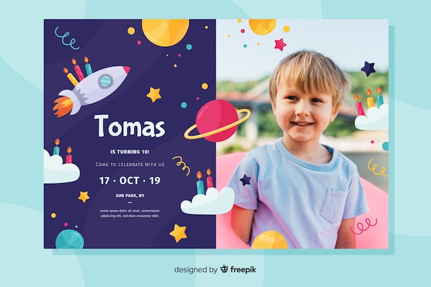 Invitación de cumpleaños con plantilla de foto