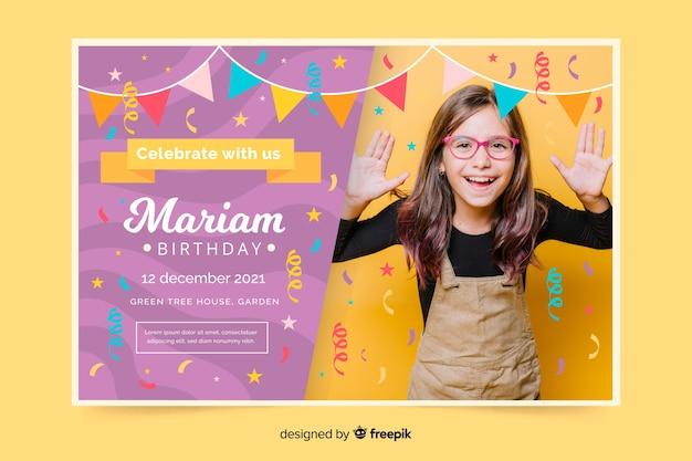 Invitación de cumpleaños de plantilla para niños con foto