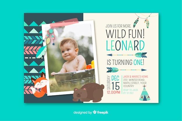 Invitación de cumpleaños de plantilla para niños con imagen