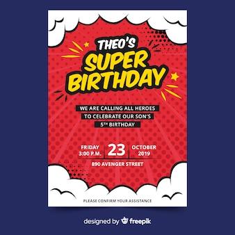Invitación de cumpleaños de plantilla para niños