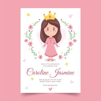 Invitación de cumpleaños princesa dibujada a mano