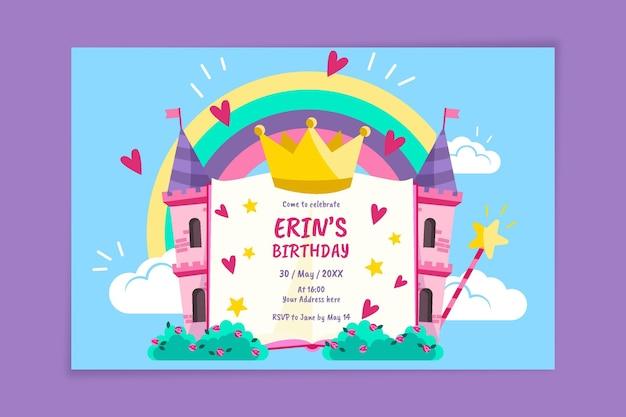Invitación de cumpleaños princesa en diseño plano