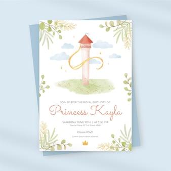 Invitación de cumpleaños de rapunzel acuarela pintada a mano