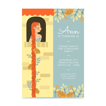 Invitación de cumpleaños de rapunzel plana