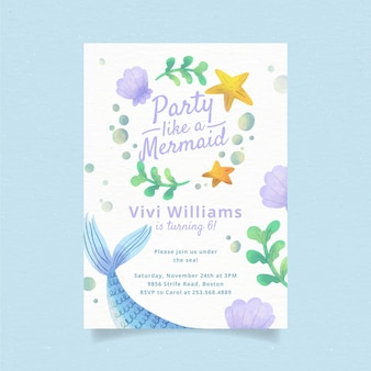 Invitación de cumpleaños de sirena acuarela pintada a mano