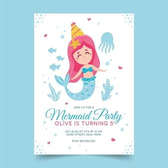Invitación de cumpleaños de sirena dibujada a mano