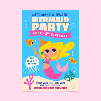 Invitación de cumpleaños de sirena de dibujos animados