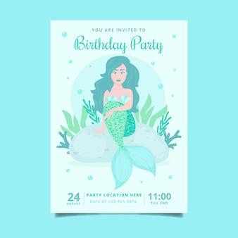 Invitación de cumpleaños de sirena plana orgánica