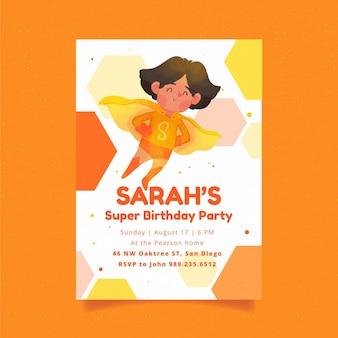 Invitación de cumpleaños de superhéroe acuarela pintada a mano