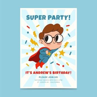 Invitación de cumpleaños de superhéroe dibujada a mano