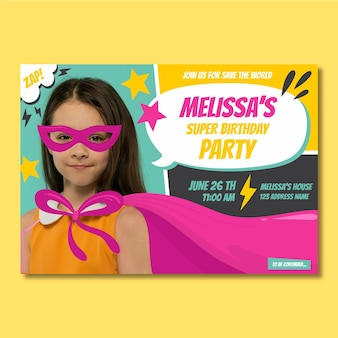 Invitación de cumpleaños de superhéroe de dibujos animados con foto