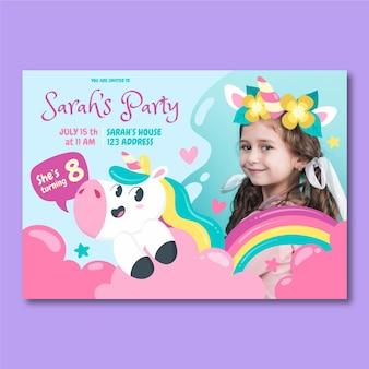 Invitación de cumpleaños de unicornio de dibujos animados con foto