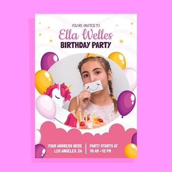 Invitación de cumpleaños de unicornio con foto