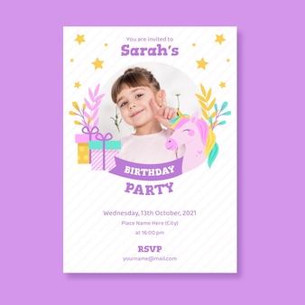 Invitación de cumpleaños unicornio plana con foto