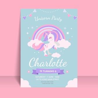 Invitación de cumpleaños de unicornio plano orgánico