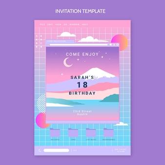 Invitación de cumpleaños de vaporwave retro degradado