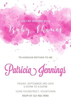 Invitación de acuarela hermosa de baby shower