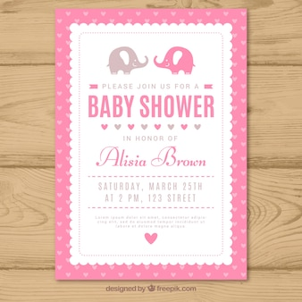 Invitación de baby shower rosa