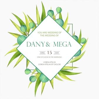 Invitación de boda acuarela eucalipto