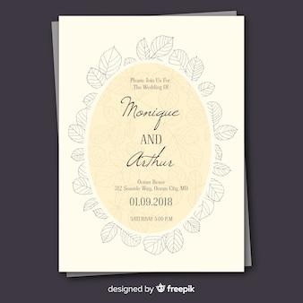 Invitación de boda adorable con hojas dibujadas a mano