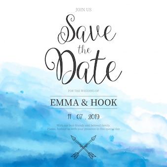 Invitación de boda azul de la acuarela