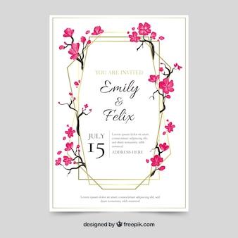 Invitación de boda con elementos florales