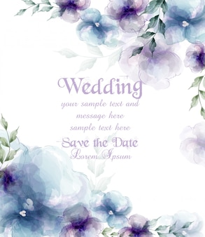 Invitación de boda con flores azules acuarelas