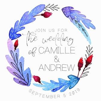 Invitación de boda con guirnalda de acuarela handdrawn