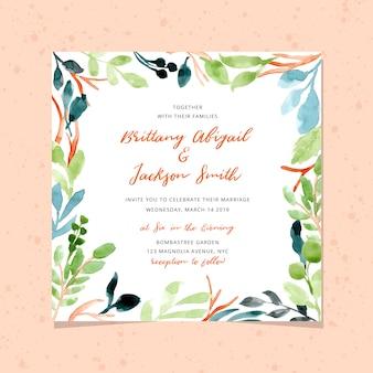 Invitación de boda con marco de follaje acuarela