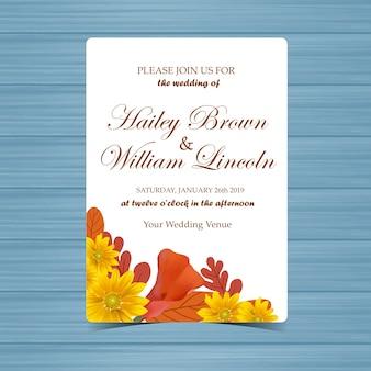 Invitación de boda con marco floral de otoño