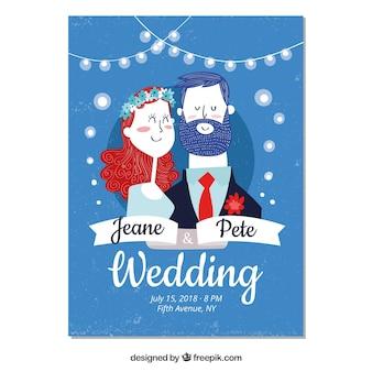 Invitación de boda con pareja dibujada a mano